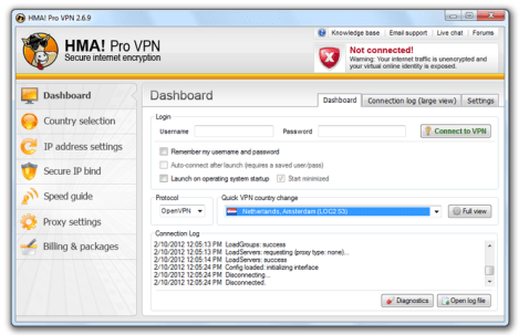 HMA Pro VPN Username and Password