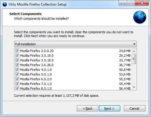 Настройка Utilu Mozilla Firefox Collection: Выбор компонентов