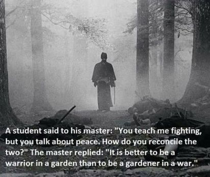 Warrior in a garden