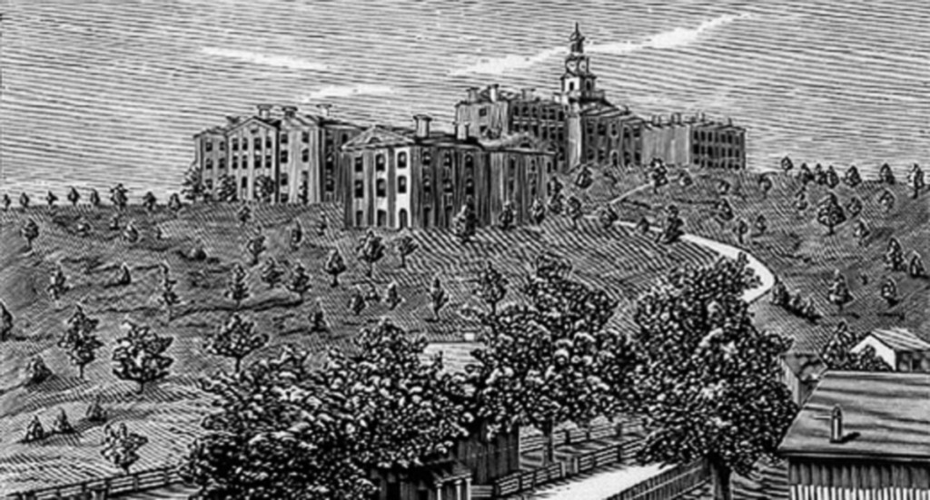 black and white engraving of the University of Tennessee campus in Knoxville