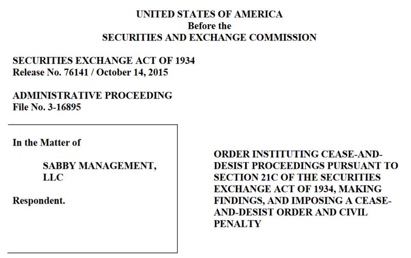 Sabby Management SEC lawsuit short selling