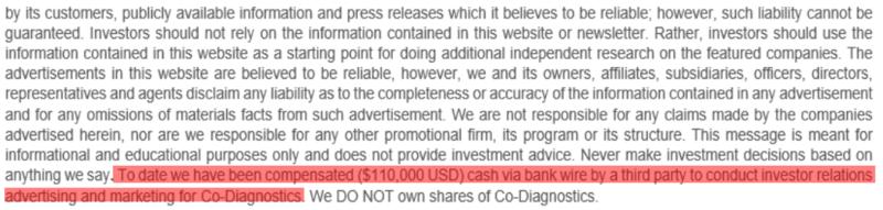 Sabby Management CODX disclaimer