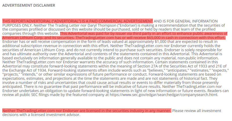 LIACF paid promotion disclaimer