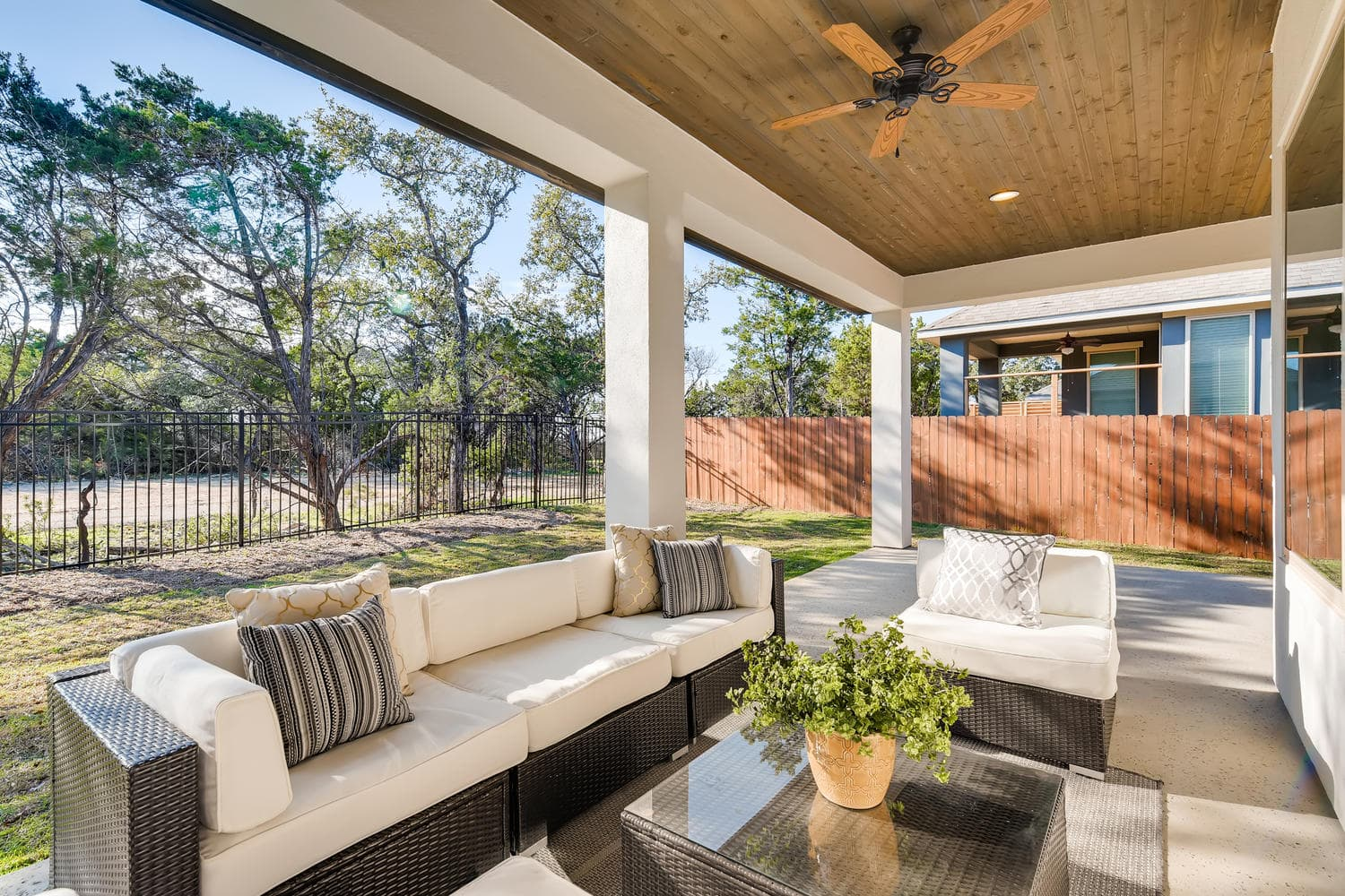 Full home staging in Las Vegas, Nevada, featuring a staged back porch