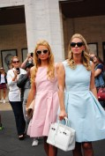 Paris and Nicky Hilton were seen twinning in pink and blue Dennis Basso dresses at the Lincoln Center. @parishilton @nickyhilton