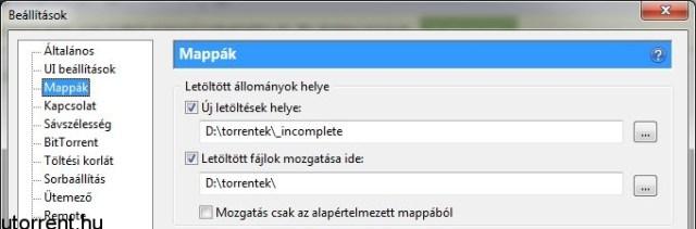 uTorrent letöltési mappa beállítás