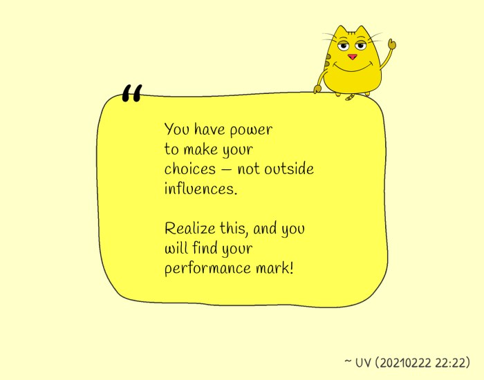 You have power to make your choices — not outside influences. Realize this, and you will find your performance mark! ~ UV (Utpal Vaishnav Quote)