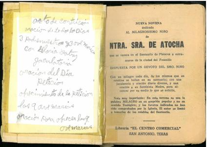 Paste-down. Nueva novena dedicada al milagrosisimo Niño de Ntra. Sra. de Atocha... (190-?).
