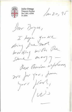 Letter laid in. Ayacucho, Goodbye ; Moscow's Gold (1994) by Julio Ortega.
