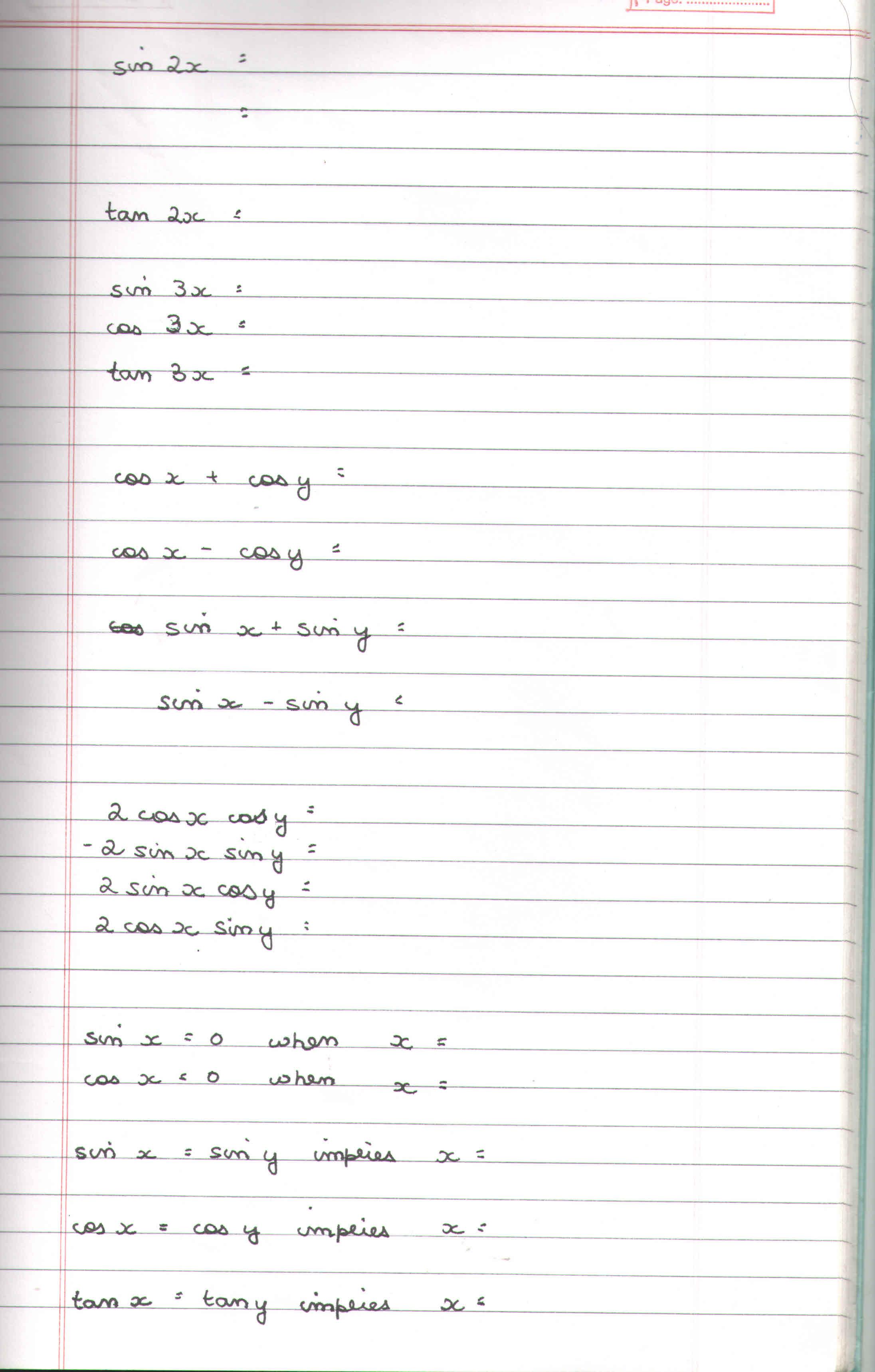 Trigonometry Identity Worksheet