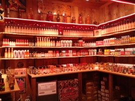 The hot sauce section of Rustlin Robs Texas Gourmet Foods, Fredericksburg, 1.5 hours west of Austin. This was only one tiny section of the shop, it was filled with shelves upon shelves of jams, salsas, peanut butters, honey butters, dips, chocalate, etc for you to taste test. The shop was packed with people so there was no shame for pigging out!