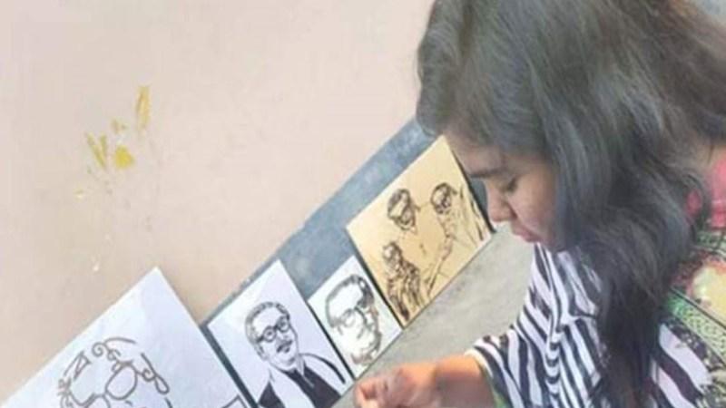 সুই-সুতায় বঙ্গবন্ধুর ১ হাজার ছবি আঁকবেন তারিন