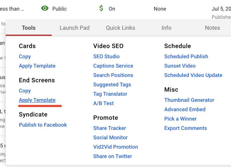 applying youtube end screen template