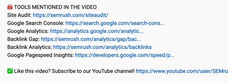 emojis in video description