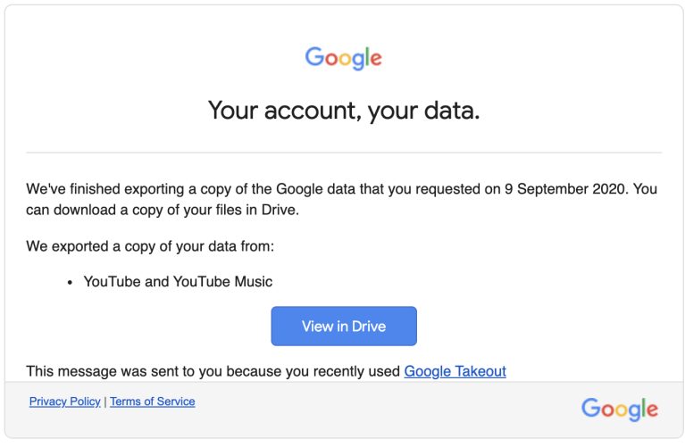 google takeout email notification