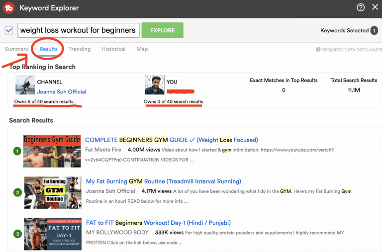 youtube keyword results