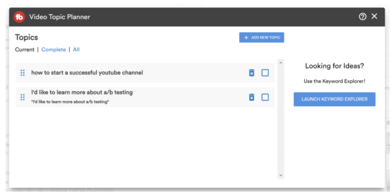 youtube video topic ideas tubebudddy free features