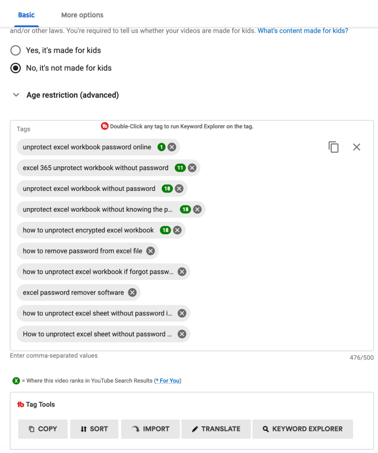 youtube tags rank checker
