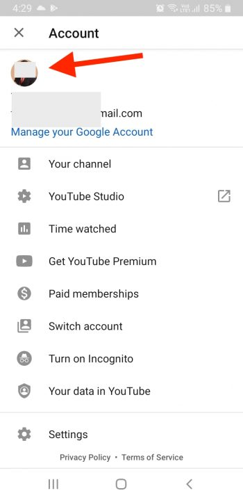 Tap Profile Pic to change YouTube channel name on mobile
