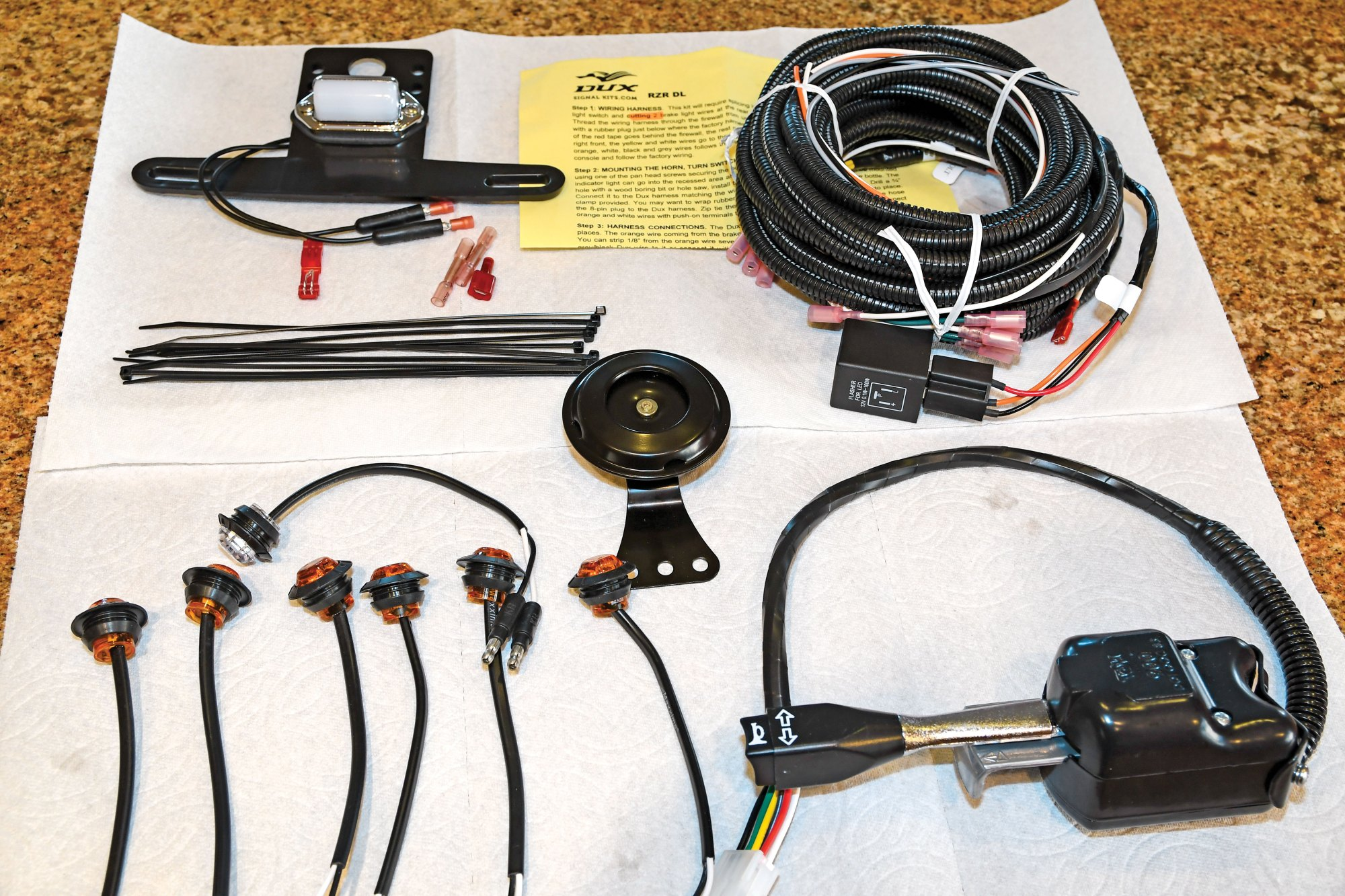 hight resolution of the dux deluxe signal kit includes clockwise from top instructions a wiring harness with sheave and flasher unit 105 decibel horn column mounted signal