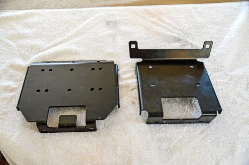 small resolution of locate and purchase a mounting plate made for your specific utv for this installation we will be mounting the winch in a polaris xp 1000 with a shock