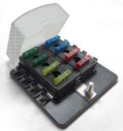 universal 8 way covered 12v circuit blade fuse box with led indicators and accessories [ 1600 x 1600 Pixel ]