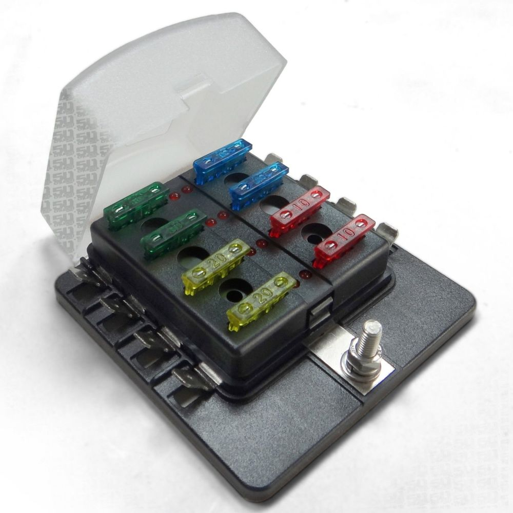 medium resolution of universal 8 way covered 12v circuit blade fuse box with led indicators and accessories