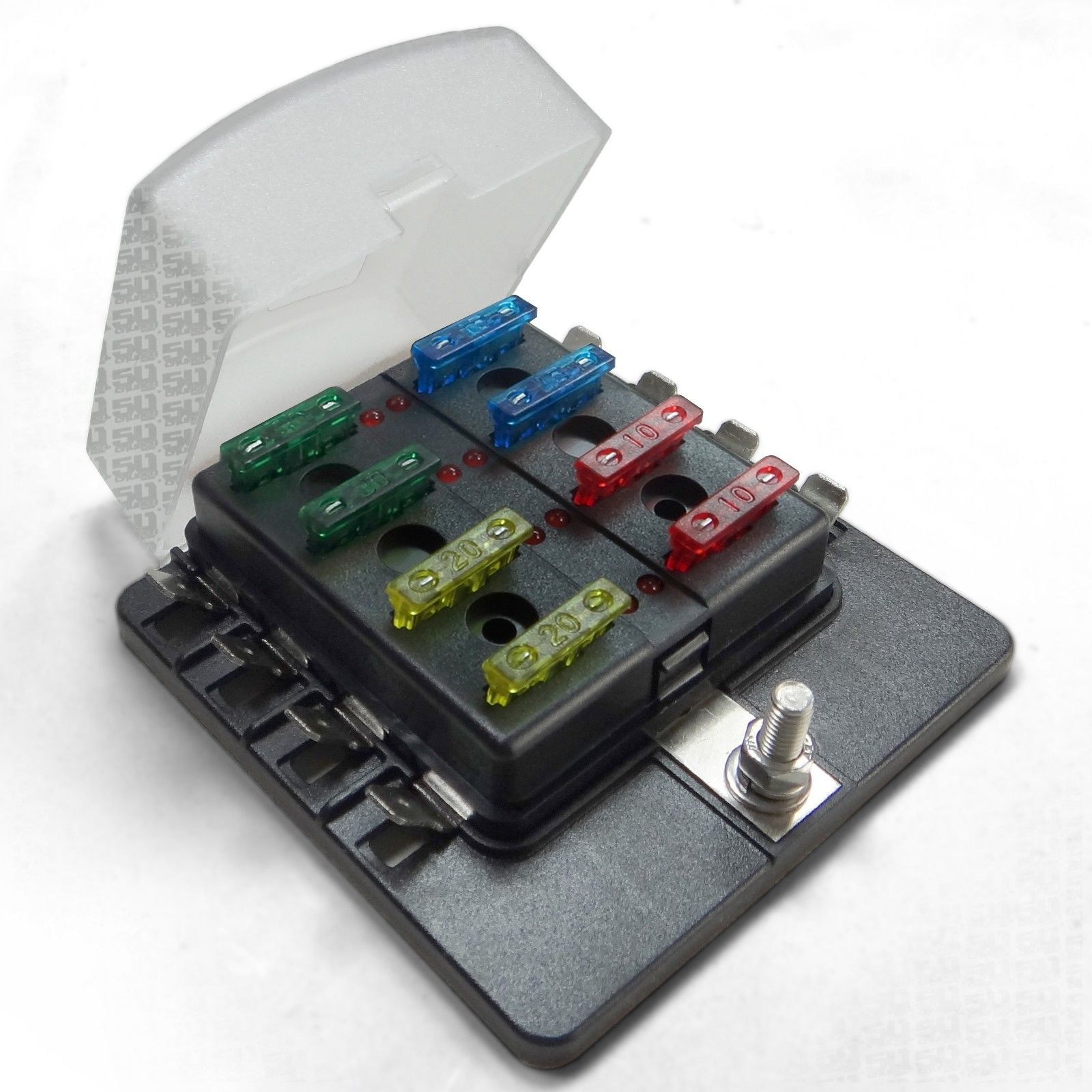 hight resolution of universal 8 way covered 12v circuit blade fuse box with led indicators and accessories