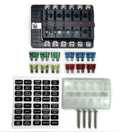 universal 12 way covered 12v circuit blade fuse box with led indicators and accessories [ 1600 x 1600 Pixel ]