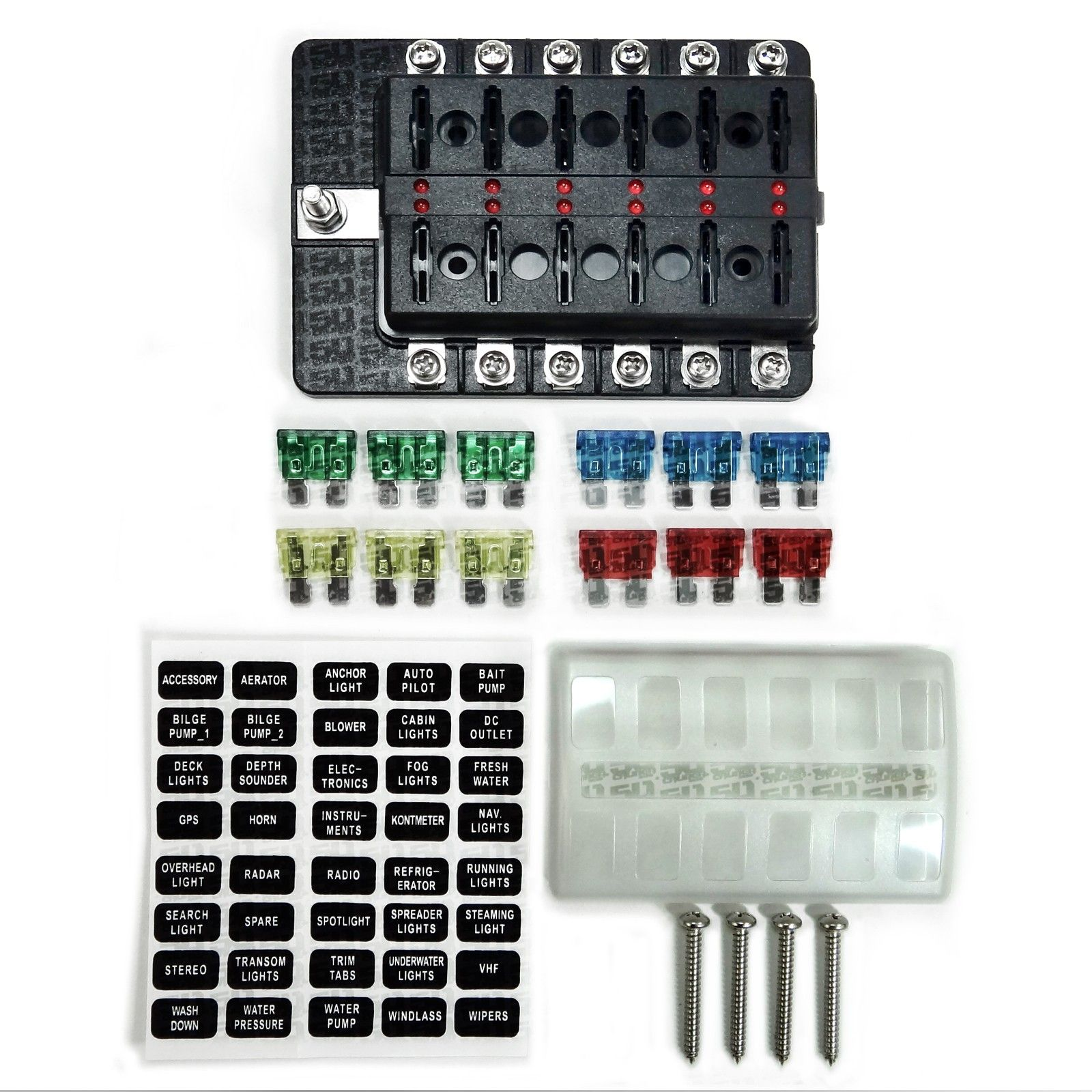 hight resolution of universal 12 way covered 12v circuit blade fuse box with led indicators and accessories