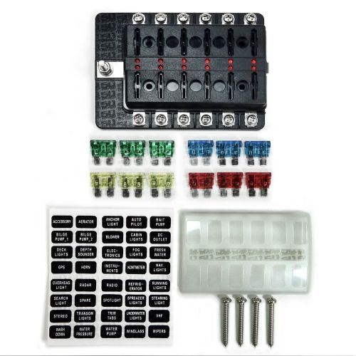 small resolution of universal 12 way covered 12v circuit blade fuse box with led indicators and accessories