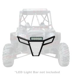 50 caliber racing rzr front bumper black powdercoat frame with white aluminum skidplate and light  [ 1600 x 1600 Pixel ]