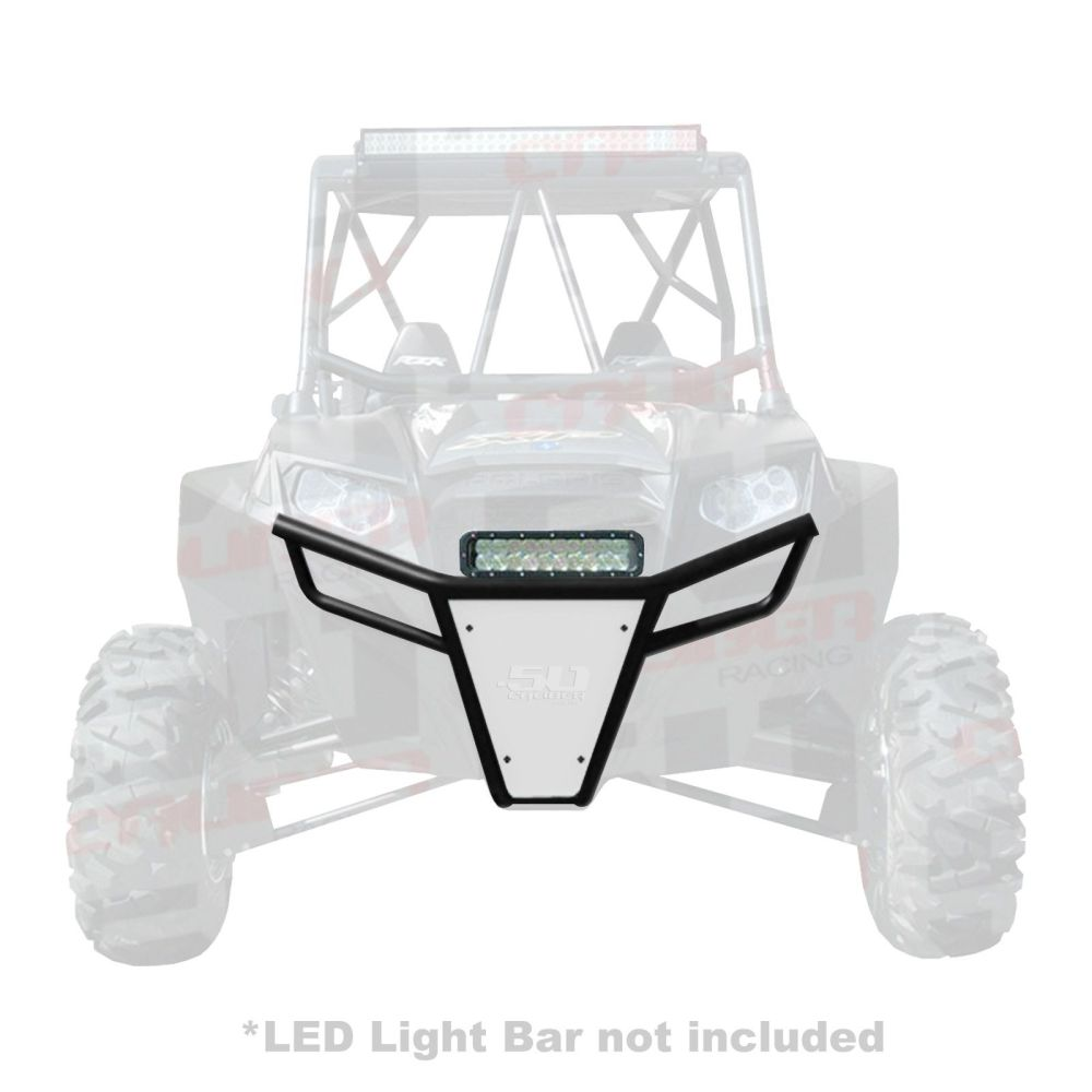 medium resolution of  50 caliber racing rzr front bumper black powdercoat frame with white aluminum skidplate and light