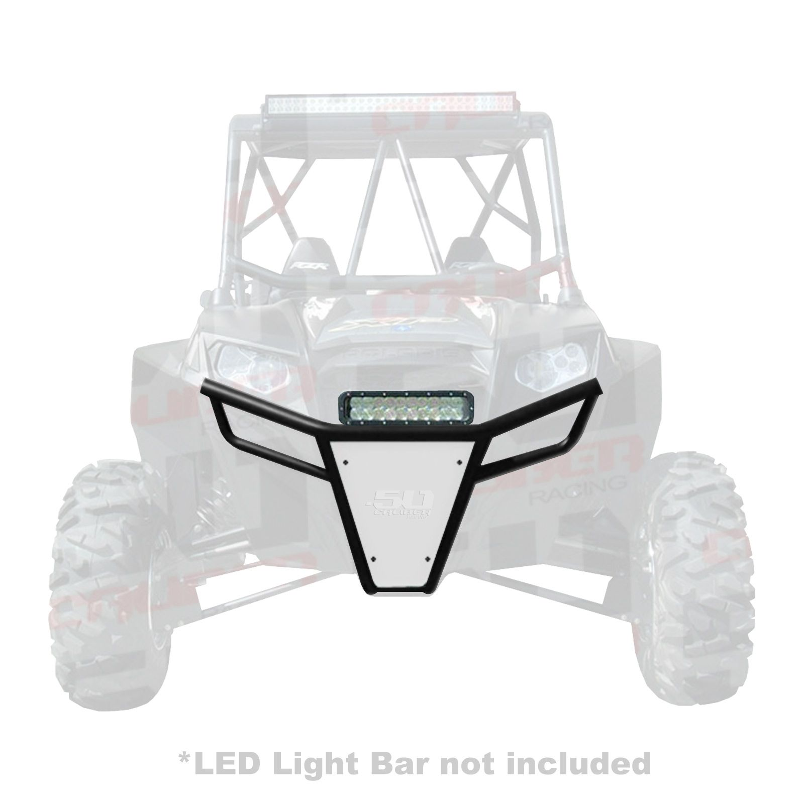 hight resolution of  50 caliber racing rzr front bumper black powdercoat frame with white aluminum skidplate and light