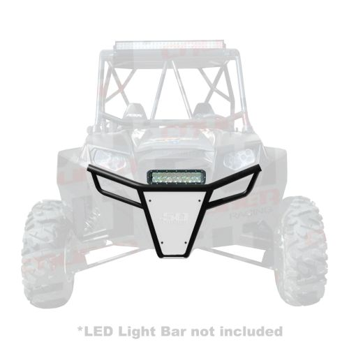 small resolution of  50 caliber racing rzr front bumper black powdercoat frame with white aluminum skidplate and light