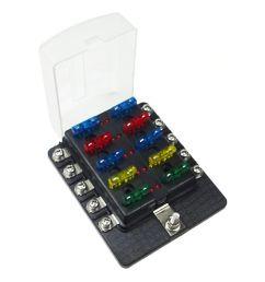 10 way 12v circuit fuse block led indicators ring terminals  [ 1600 x 1600 Pixel ]