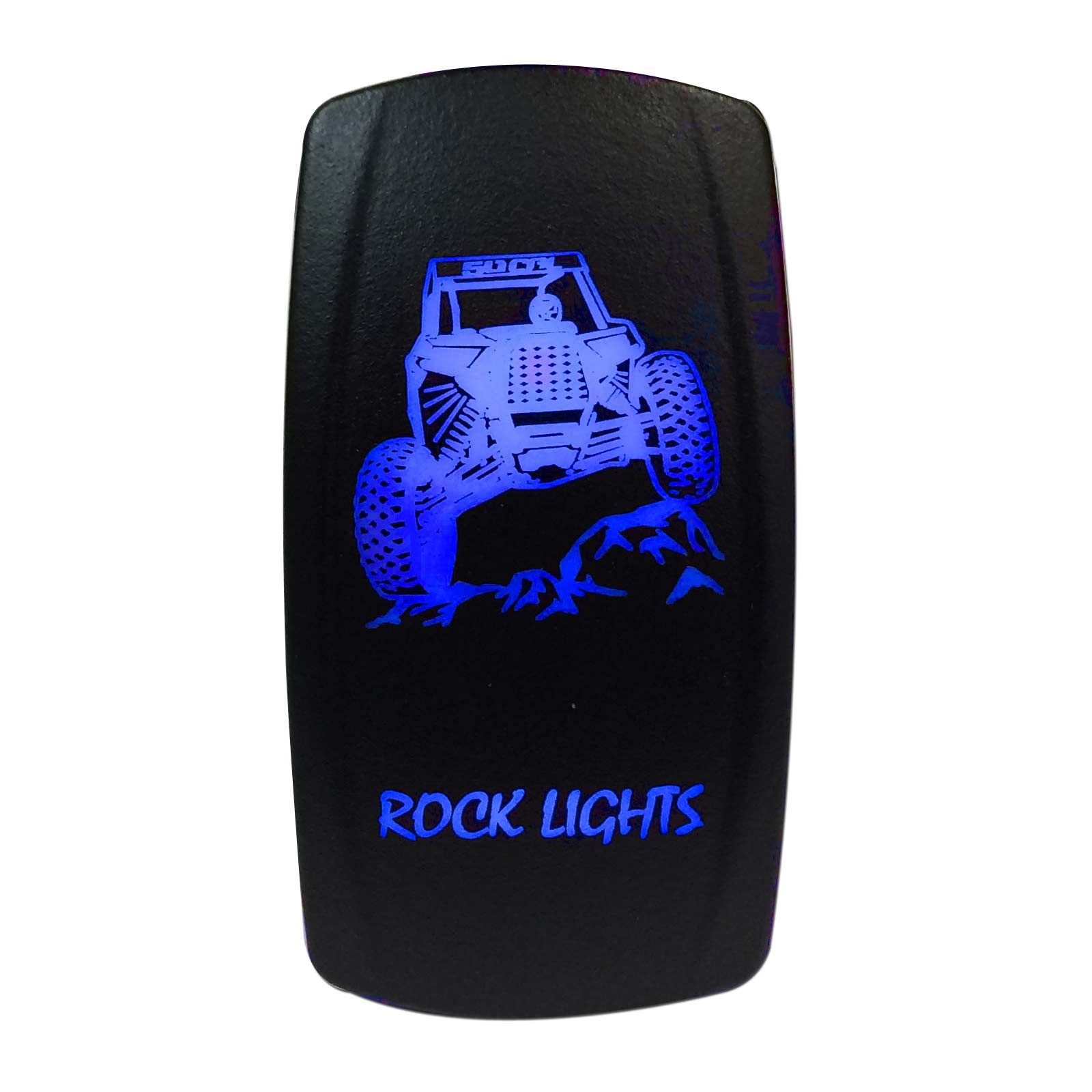 hight resolution of  illuminated 50 caliber racing on off rocker switch with laser etched design rock