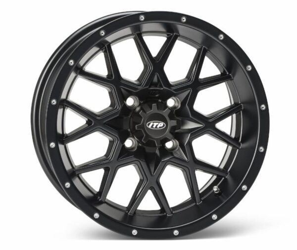 The all-new heavy-duty aluminum alloy ITP Hurricane wheel, the first wheel in the new Storm Series wheel lineup, offers an unbeatable X-pattern design, an ITP-exclusive Rock Armor inner wheel lip and a stunning black finish.