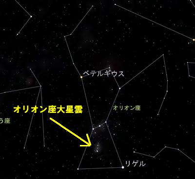 オリオン座大星雲の位置
