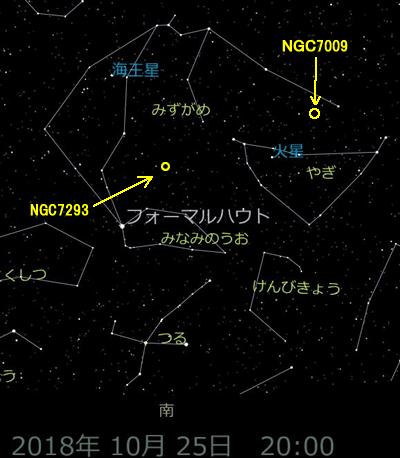 みずがめ座の土星状星雲(NGC7009)の位置