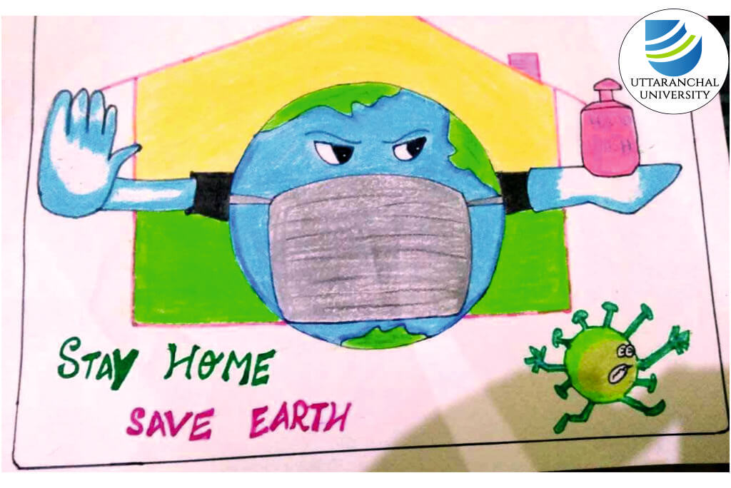 Guards Of Green Club Of Uttaranchal Institute Of Pharmaceutical Sciences Organizes An Online Earth Day Themed Poster Making And Drawing Event To Celebrate International Earth Day Uttaranchal University