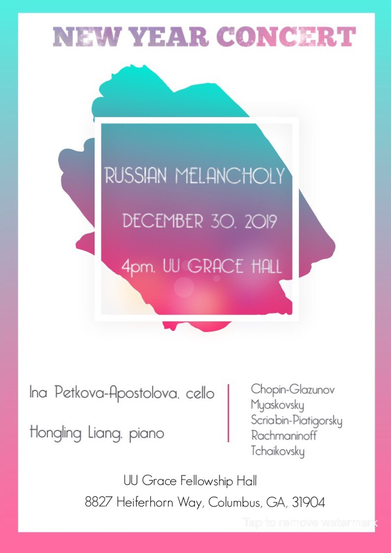 Former UU accompanist Hongling Liang and cellist Ina Petkova-Apostova both have studied at the Schwob School of Music at Columbus State University. This free concert is presented by the Unitarian Universalist Fellowship of Columbus, GA