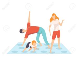 Mother, Father and Son Playing Twister Game, Parents and Their Son in Everyday Life at Home Vector Illustration