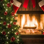 Tree, stockings, and fireplace