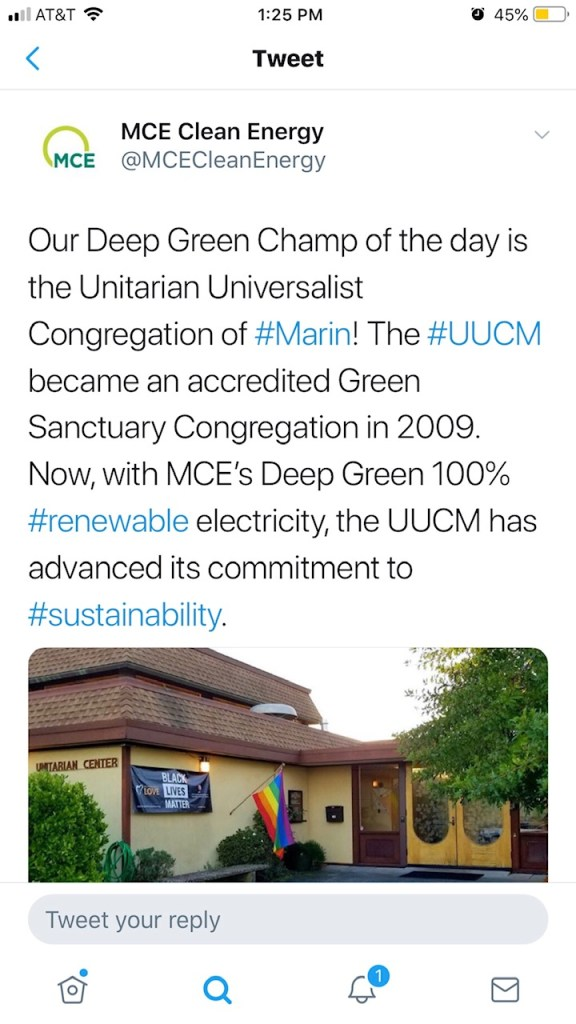Tweet from MCE Clean Energy saying we've gone to Deep Green