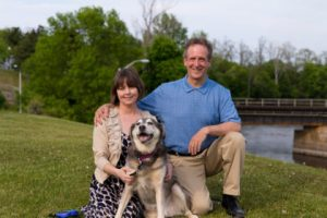 Photo of Colin Read, his wife Natalie and their dog Albert