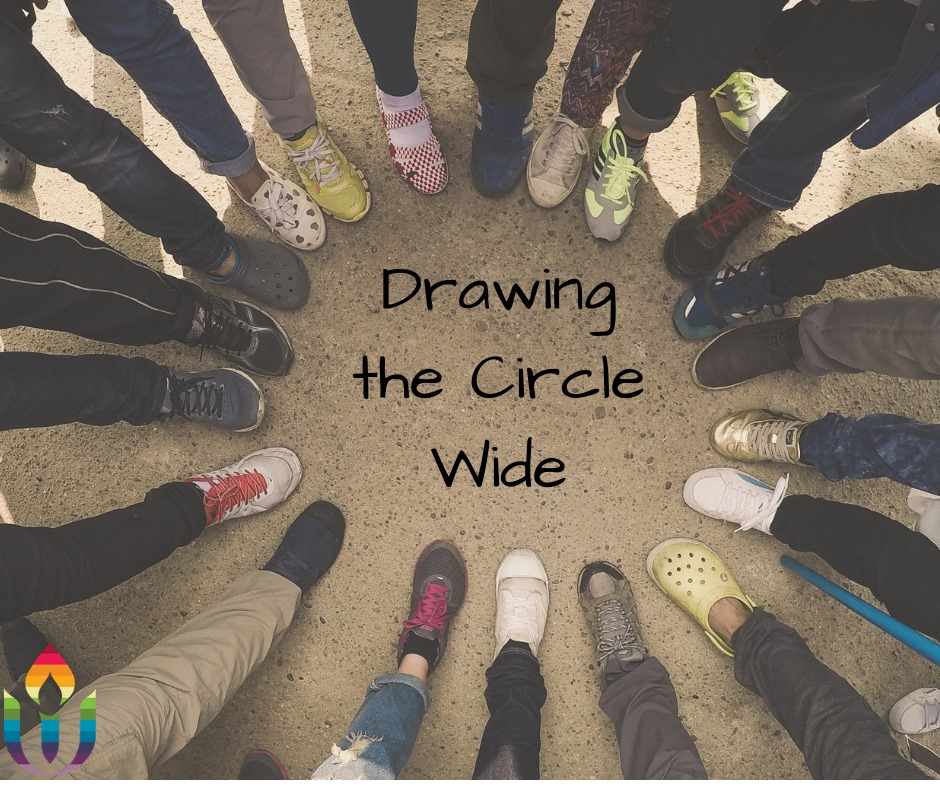"""A picture of the feet of people gathered in a circle with the title """"""""Drawing the Circle Wide"""" at the center."""