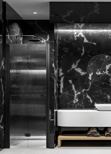 Hietakari - Sandriff Forma383 Taittuva Suihkuovi magneettilukituksella musta runko