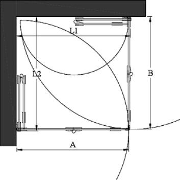 Hietakari - Sandriff Vetro 546 Suihkunurkka taittuvilla ovilla mittakuva