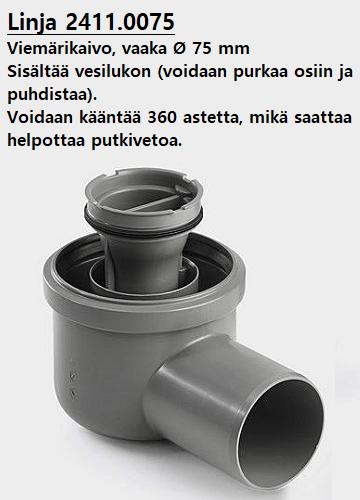 Viemärikaivo (kulma) vaaka 75 mm (Linja 2411.0075)